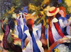 Jeunes filles sous les arbres, 1914