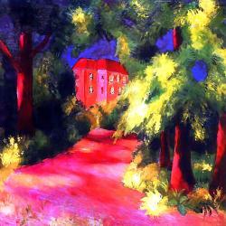 Maison rouge dans un parc, 1914