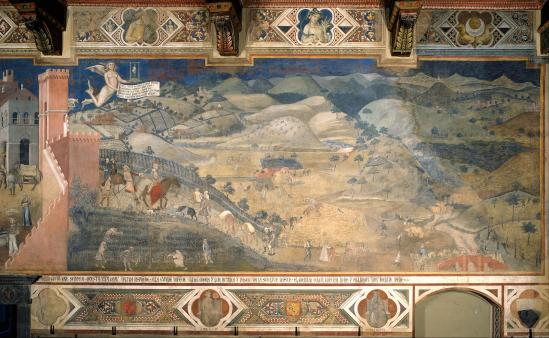 Ambrogio Lorenzetti. Effets du bon gouvernement sur la campagne (1337-39)