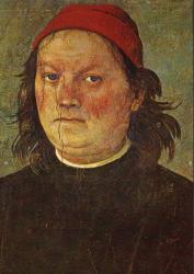 Le Pérugin. Autoportrait extrait des fresques du Collegio del Cambio (1497-1500)