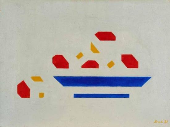 Bart van der Leck. Nature morte, bol avec pommes (1921)