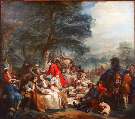 Carle Van Loo. La halte de chasse (1737)