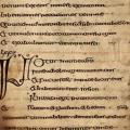 Cathach de saint Colomba, folio 35, détail (début 7e s.)