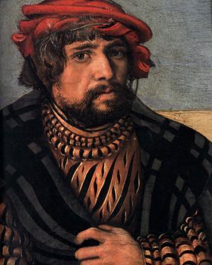 Cranach l'Ancien. Autoportrait extrait de La Sainte Parenté (1510-1512)