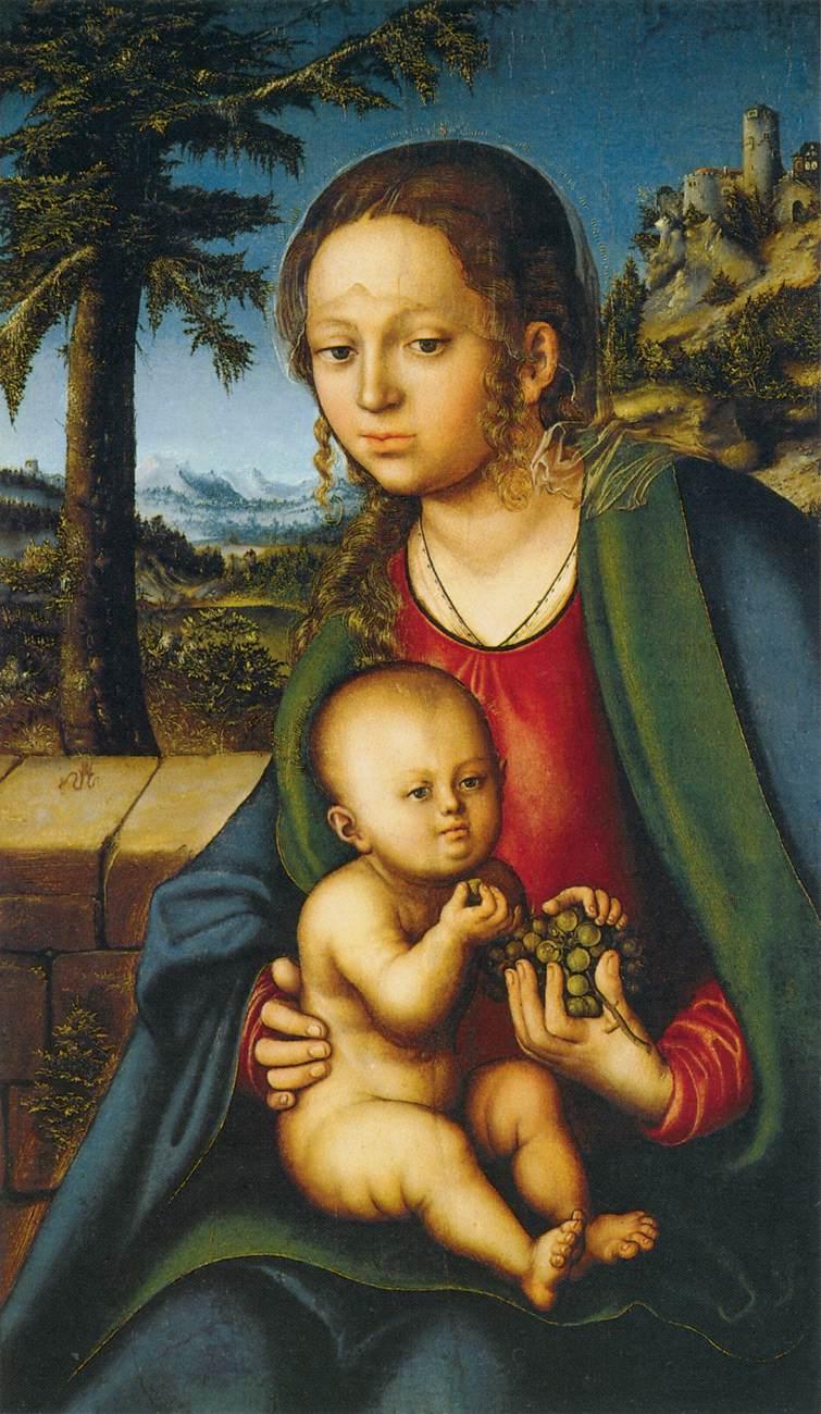 Cranach l'ancien. vierge à l'enfant avec une grappe de raisin (1509