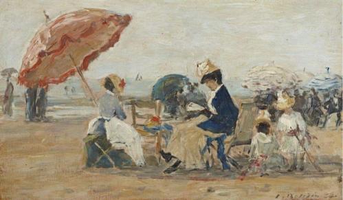 Eugène Boudin. La plage à Trouville (1884)