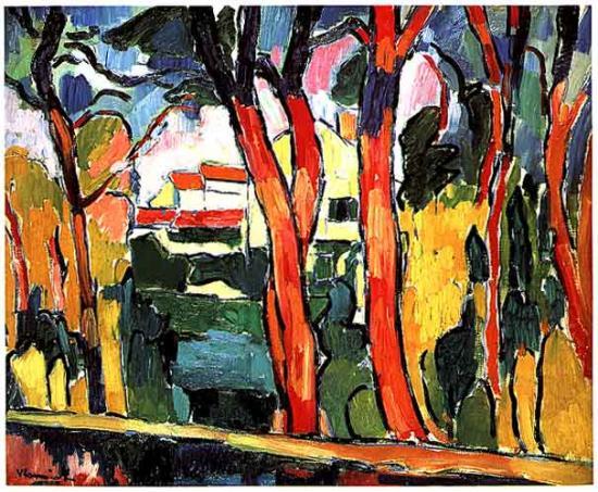 Vlaminck. Paysage aux arbres rouge, 1906