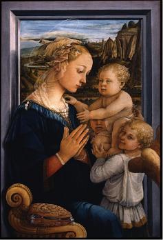 Filippo Lippi. Vierge à l'enfant et deux anges (1465)