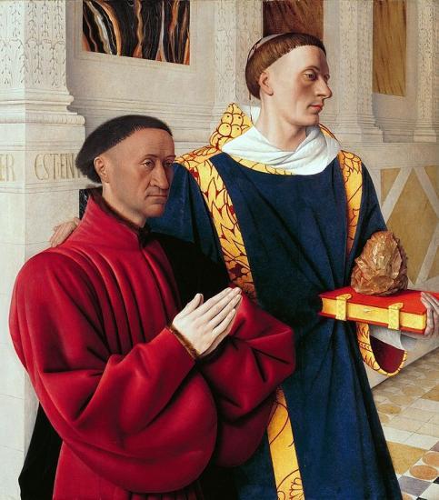 Fouquet. Diptyque de Melun. Etienne Chevalier et Saint Etienne (1452-58)