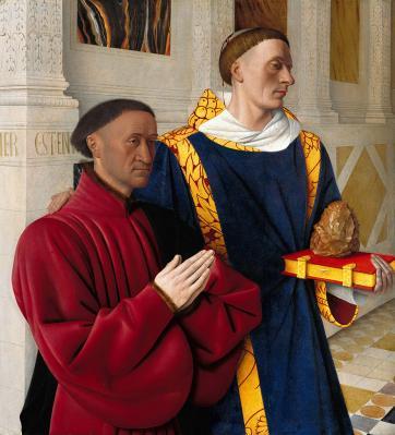 Jean Fouquet. Etienne Chevalier présenté par saint Etienne (1452-58)