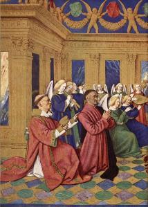 Jean Fouquet. Heures d'Étienne Chevalier. Saint Etienne présentant Étienne Chevalier (1452-60)