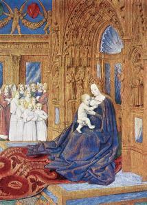 Jean Fouquet. Heures d'Étienne Chevalier. Vierge à l'Enfant (1452-60)