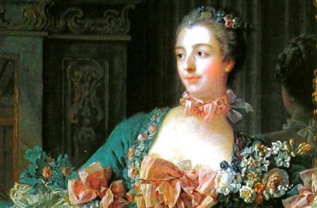 François Boucher. La Marquise de Pompadour (1756), détail