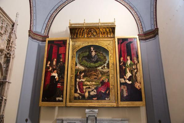 Nicolas Froment. Triptyque du Buisson ardent (1475-76). Vue d'ensemble.