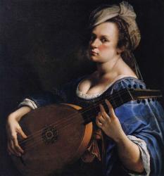Gentileschi. Autoportrait en joueuse de luth 1615-17)