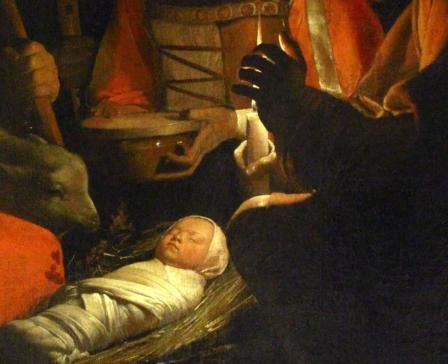 Georges de La Tour. L'Adoration des bergers (1645), détail