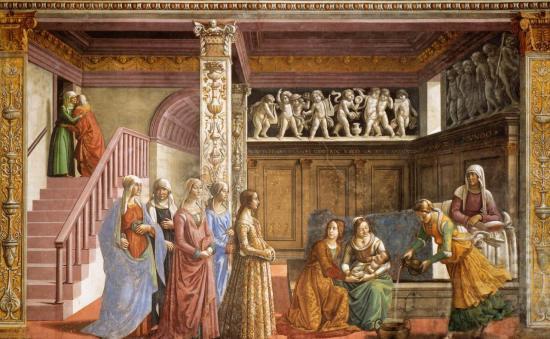 Ghirlandaio. Chapelle Tornabuoni. La naissance de la Vierge (1485-90)