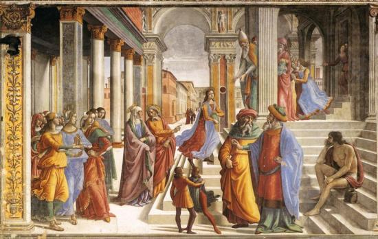 Ghirlandaio. Chapelle Tornabuoni. Présentation de la Vierge au temple (1485-90)