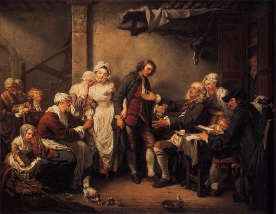 Greuze. L'accordée de village (1761)