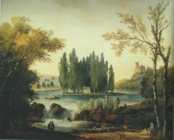 Hubert Robert. Tombeau de J.J. Rousseau dans le parc d'Ermenonville (1802)