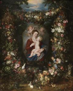 Jan Brueghel de Velours et Rubens. Vierge à l'Enfant entourée de fleurs et de fruits (fin 16e siècle)