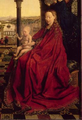 Jan Van Eyck. La Vierge du Chancelier Rolin, détail (1435)