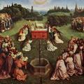 Jan Van Eyck. Le retable de L'Adoration de l'Agneau mystique, panneau central (1432)
