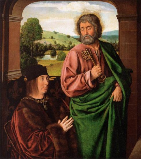 Jean Hey. Pierre II de Bourbon, présenté par saint Pierre (1492-93)