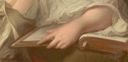 Jean-Marc Nattier. Portrait de Madame Geoffrin (1738), détail