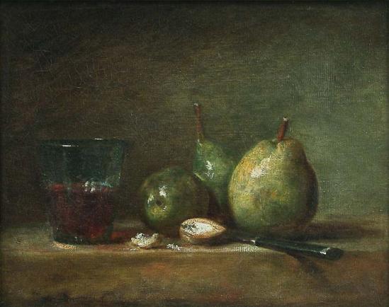 Jean-Siméon Chardin. Poires, noix et verre de vin (v. 1768)