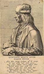 Portrait de Quentin Metsys par Johannes Wierix (gravure, fin 16e siècle)