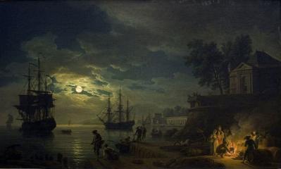 Joseph Vernet. La nuit, un port de mer au clair de lune (1771)