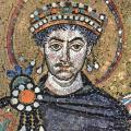 L'empereur Justinien et sa suite, détail (6e s.)