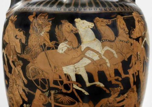 Le combat des Dieux et des Géants, détail (410-400)