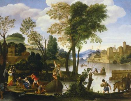 Le Dominiquin. Paysage fluvial avec batelier et pêcheurs (v. 1605)