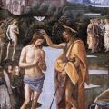 Le Pérugin. Chapelle Sixtine. Le baptême du Christ, détail (v. 1482)