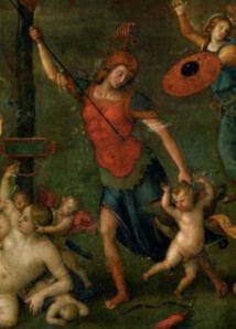 Le Pérugin. Le Combat de l'Amour et de la Chasteté, détail