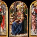 Lippi. Triptyque de la Vierge à l'enfant avec deux anges (1437)