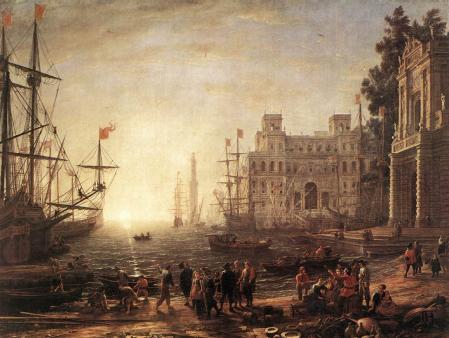 Lorrain. Port de mer avec la villa Médicis (1638)