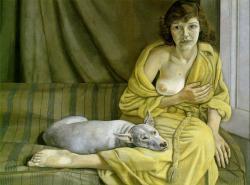 Lucian Freud. Femme au chien blanc (1951)