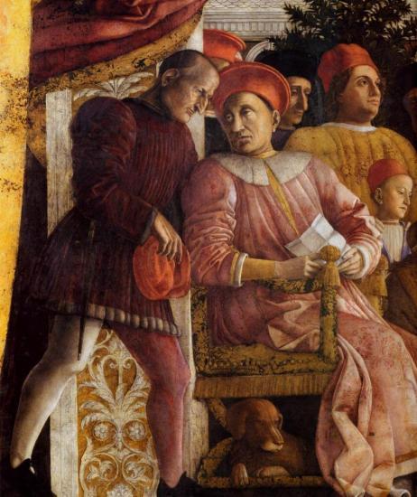 Mantegna. La chambre des époux, la cour des Gonzague, détail (1465-74)