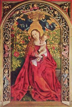 Martin Schongauer. La Vierge au buisson de roses (1473)