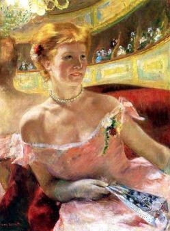Mary Cassatt. Femme au collier de perles dans une loge (1879)