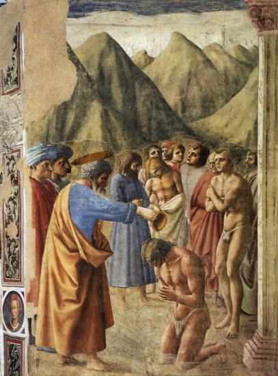 Masaccio. Chapelle Brancacci, le baptême des néophytes (1426-27)