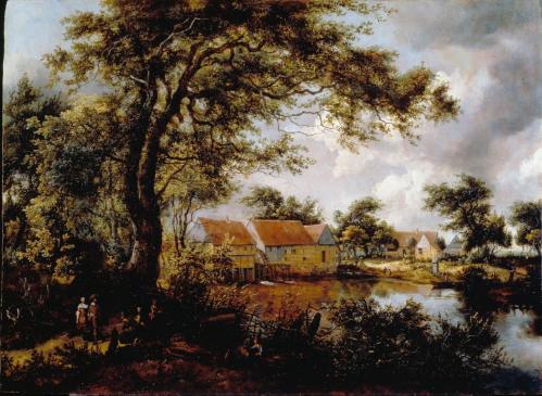 Meindert Hobbema. Paysage boisé avec moulin à eau (v. 1660)