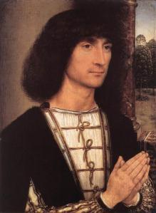 Memling. Jeune homme priant et vase de fleurs, avers (1485-90)