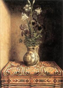 Memling. Jeune homme priant et vase de fleurs, revers (1485-90)