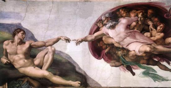 Michel-Ange.Chapelle Sixtine. La création d'Adam (1510)