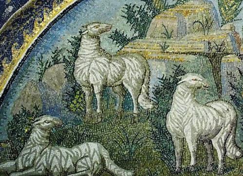 Mosaïque du Bon Pasteur, détail