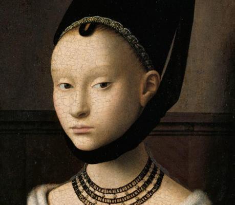 Petrus Christus. Portrait d'une jeune fille, détail (v. 1470)